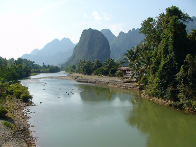 Ride past Limestone Karsts near Vang Vieng, Laos