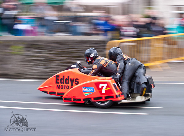 "Two heats each day: The Sidecars and the Superbikes. (The rider on the back is called ""the monkey"")"