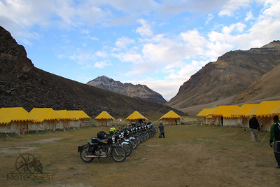Royal Enfields lined up at the camping ground