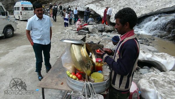 A vendor selling food