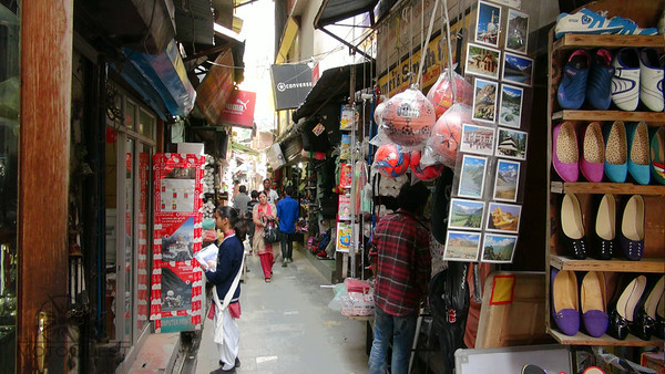 Narrow shopping street