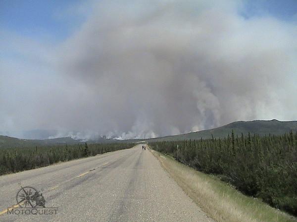 A forest fire runs wild along the Dalton Highway.